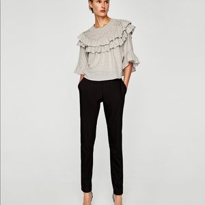 LAST CHANCE! Zara ruffle top with faux pearls
